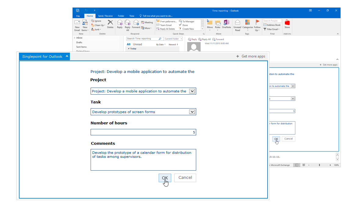 Message in Singlepoint add-in for Outlook: please fill out the time report